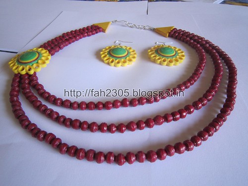 Paper Beads and Quilling Brooch Necklace & Studs (FAH01225) (2) by fah2305