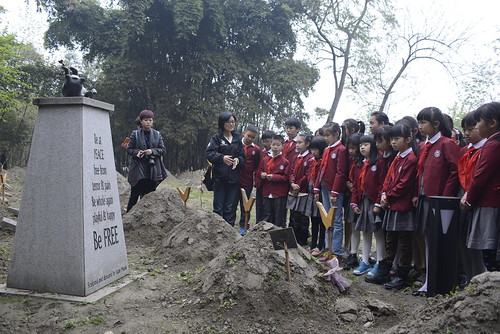 Children pay their respects