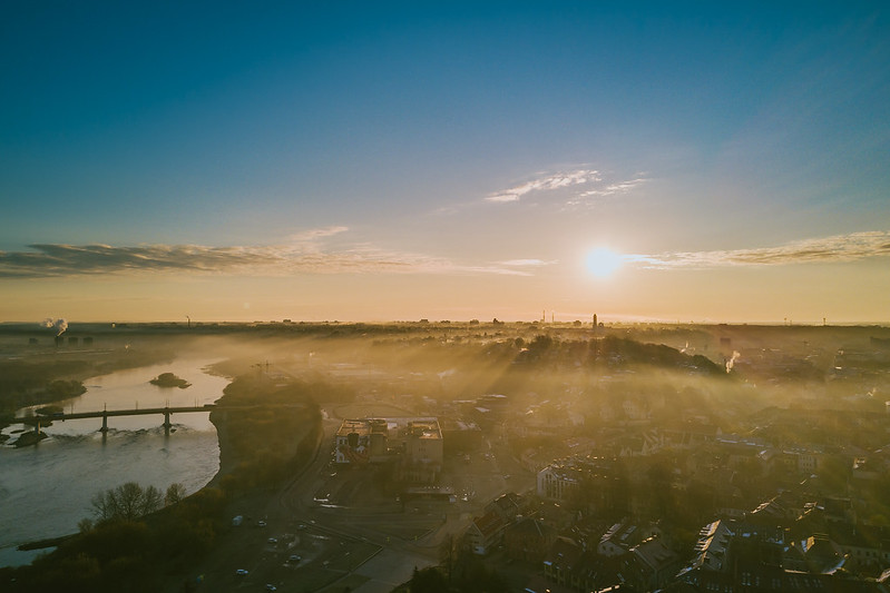 Spring fog over city | Kaunas Aerial