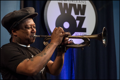 Kermit Ruffins and the BBQ Swingers perform during WWOZ Spring pledge drive day 3 on March 16, 2017. Photo by Ryan Hodgson-Rigsbee www.rhrphoto.com