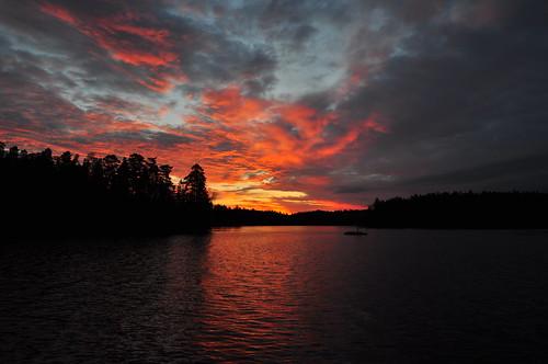 lake water clouds sunrise orivesi pukala roninmaa