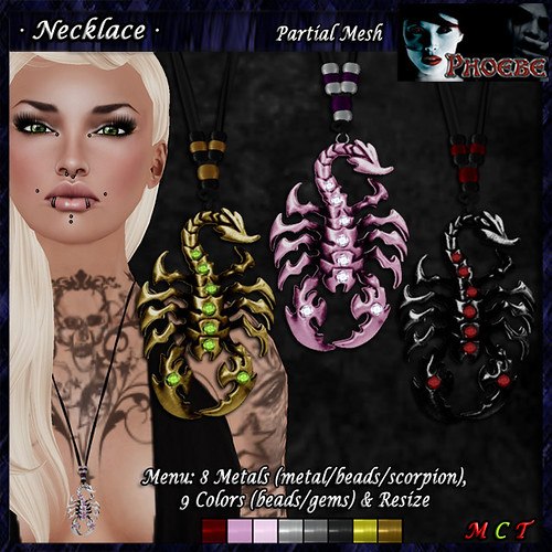 *P* Scorpion Necklace ~Metals & Colors~ P-MESH