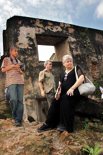 touring ruins in Indonesia