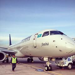 Amina is in #павлодар #pwq #pavlodar #airport #airastana #embraer190