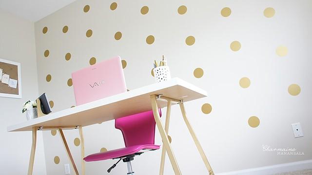 Beauty Room Progress – Gold Polka Dots Accent Wall