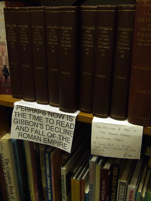 sign in a British bookstore