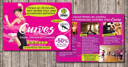 Création graphique des flyers promotionnels pour la salle de sport Curves à Tournefeuille (31).