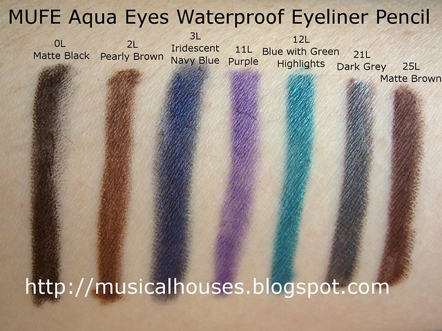 MUFE Aqua Eyes Waterproof Eyeliner Pencil Swatches