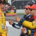 Helio Castroneves and Tony Kanaan have a good laugh with Ryan Hunter-Reay after practice at Mid-Ohio