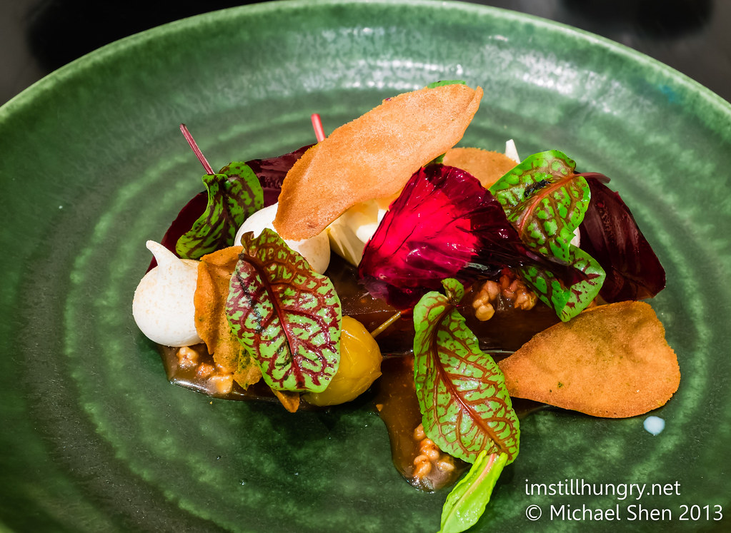 Caramelised apple, house made clotted cream, malted meringues, salted buckwheat toffee, muscovado blackcurrant & sorrel leaves Sepia