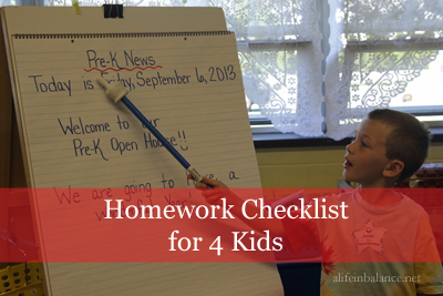 Homework Checklist for 4 Kids