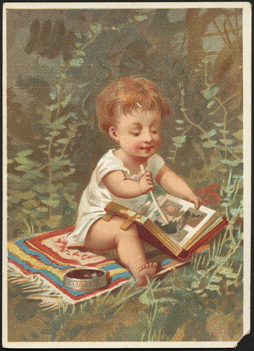 Child drawing in a book. [front]