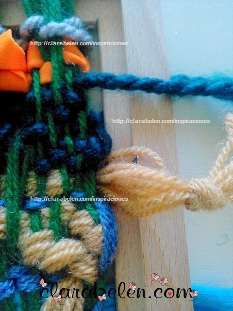 Improvisar tejedora casera para niños con un marco de fotos