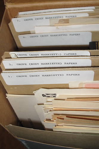 Box of files from the unprocessed Roxy Grove papers.
