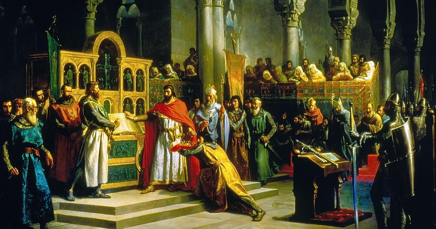 4. Alfonso VI y el Cid Campeador en La Jura de Santa Gadea. Marcos Giráldez de Acosta (1830_1896). Óleo sobre lienzo