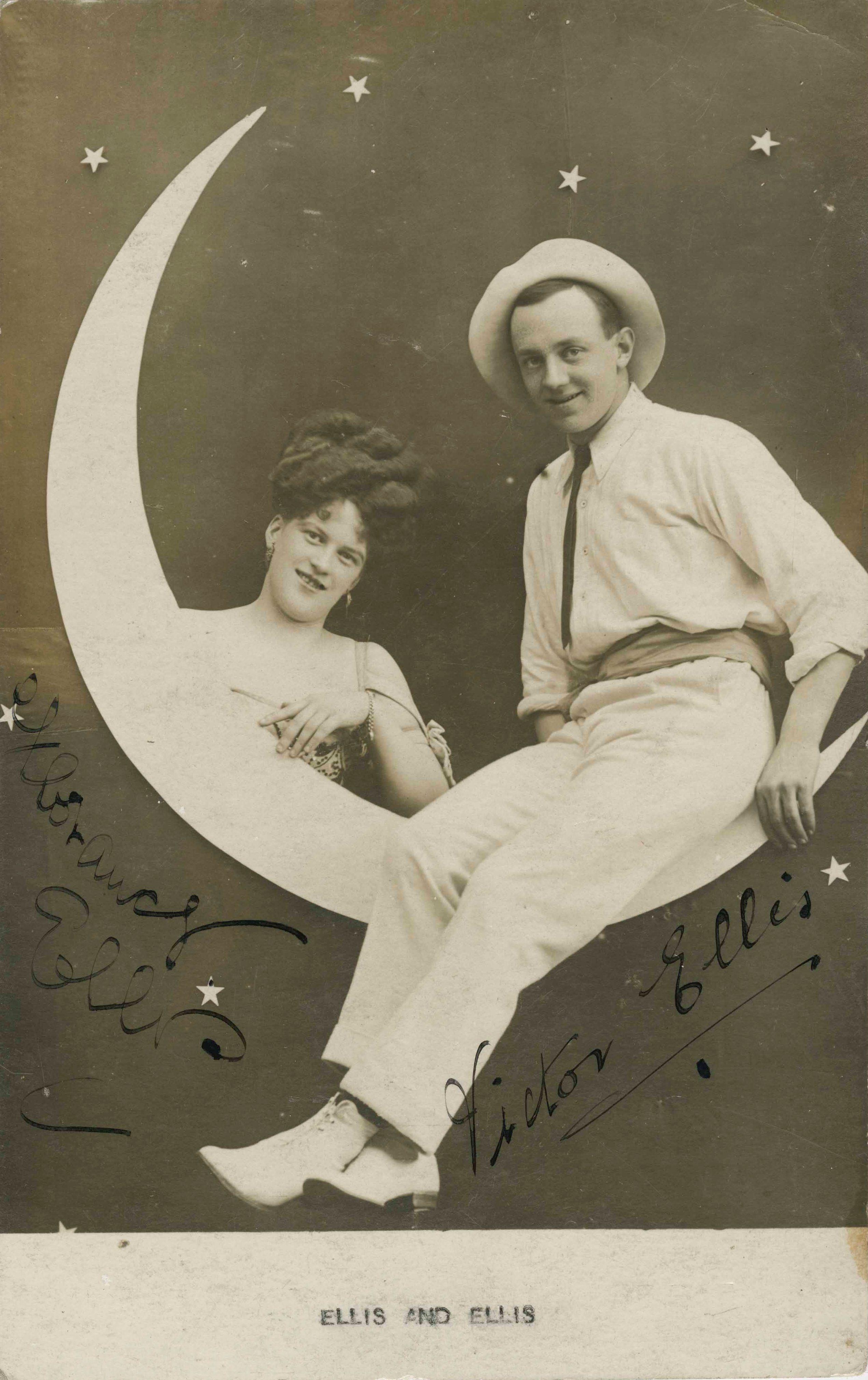 Photographic postcard of performers Ellis & Ellis