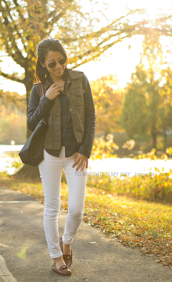 plaid shirt, faux leather military jacket, white jeans