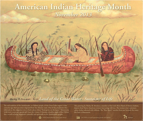 "Artist Shirley M. Brauker painted this poster, titled ""Gathering Wild Rice,"" which depicts three women in a canoe harvesting wild rice. NRCS photo."