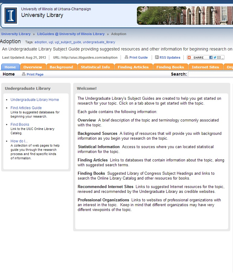 Image of the home tab of a research guide on the topic adoption