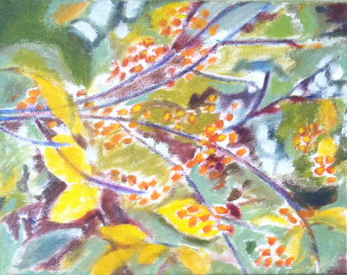 Branch with Golden Berries (Oil Bar Painting as of Dec. 6, 2013) by randubnick