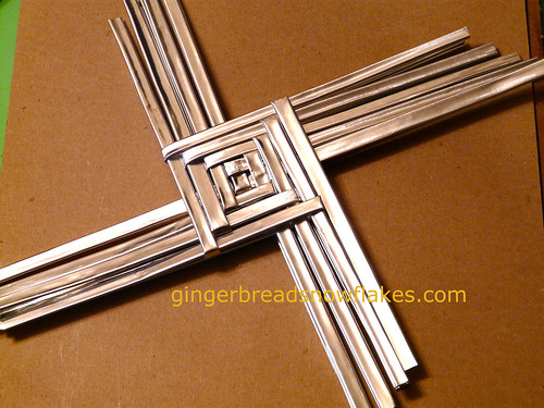 Brigid's Cross in progress