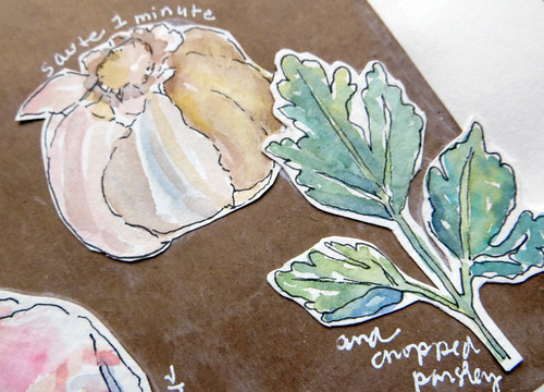 from my sketchbook ~ shrimp scampi recipe