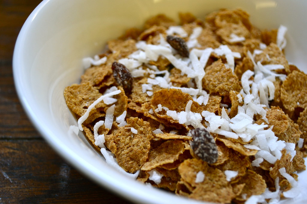 raisin bran with coconut pieces