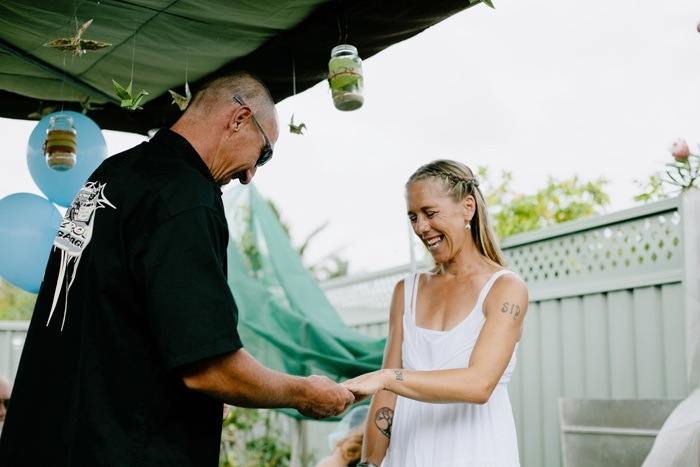 Backyard Wedding - exchanging rings
