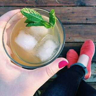 First round of cocktails out on the deck this year  > Whiskey lemonades with honey and mint. #hellospring