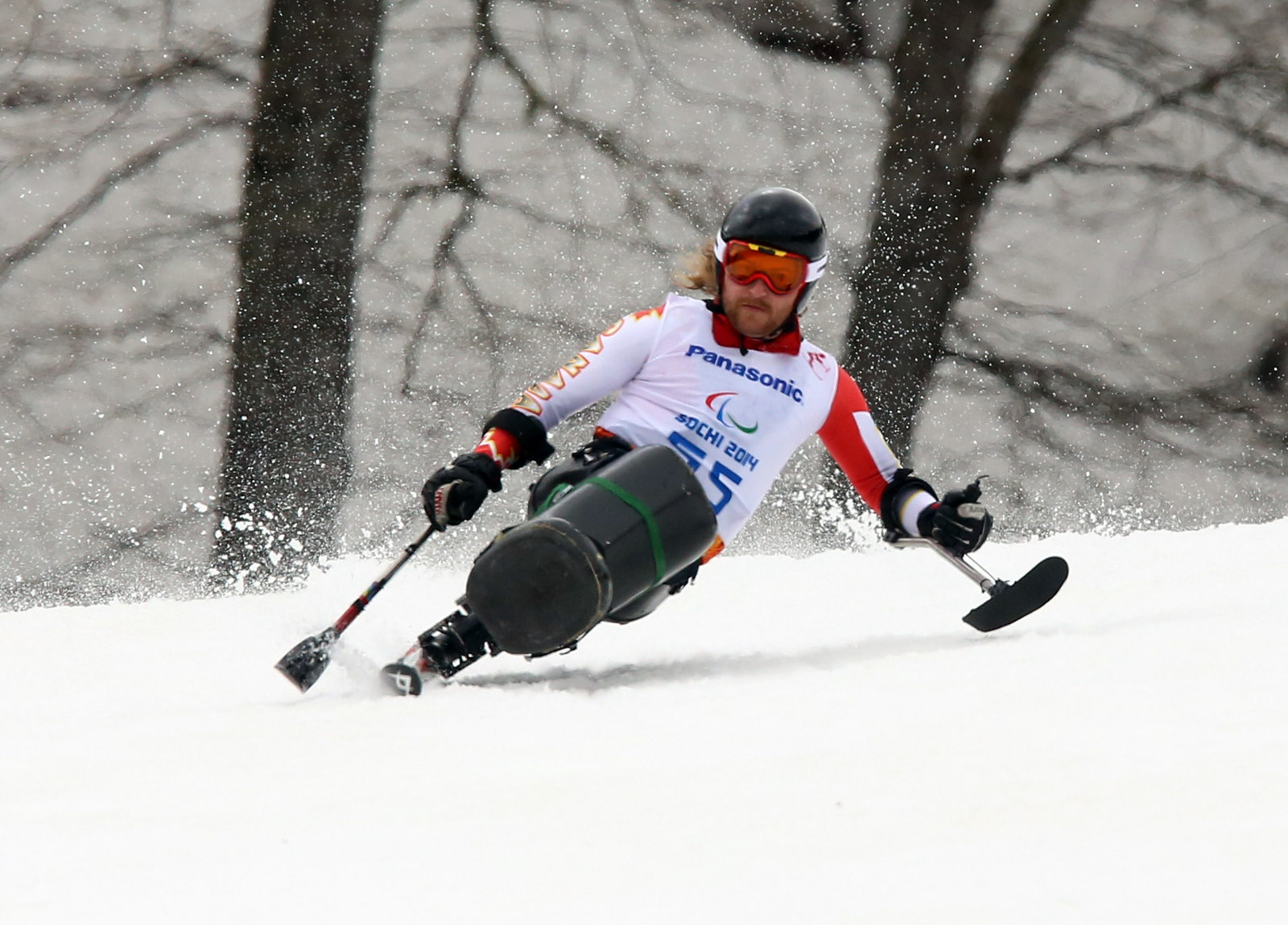 Brousseau earns a bronze medal in the super-G at the 2014 Paralympic Winter Games in Sochi, RUS