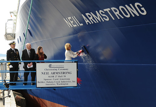 Having already covered the christening of the R/V Neil Armstrong should have mitigated any stress I was feeling about covering the same ceremony for the Sally Ride, right?