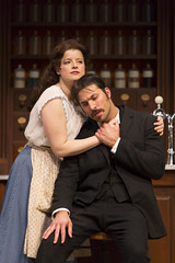 Rebecca Soler and Juan Javier Cardenas in the Huntington Theatre Company production of Melinda Lopez's stirring new drama BECOMING CUBA directed by M. Bevin O'Gara, playing March 28 - May 3, 2014 at the South End / Calderwood Pavilion at the BCA. Photo: T. Charles Erickson