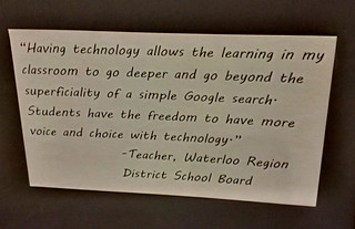 "Educational Postcard: ""Having technology allows the learning...to go deeper and go beyond the superficiality..."""