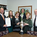 """Rep. Craig Fishbein, Wallingford Mayor William Dickinson, Town Clerk Barbara Thompson and Registrars Betty Torre and Chet Miller gathered in the mayor's office as Connecticut Secretary of the State Denise Merrill presented the 2016 Democracy Cup to the town. The Democracy Cup is awarded to municipalities that saw the highest voter turnout in the state in the 2016 presidential election.  Wallingford won the """"large town"""" division – towns with between 15,000 and 49,999 people – with a voter turnout of 87.13 percent and will be able to keep the cup on display until the next presidential election."""