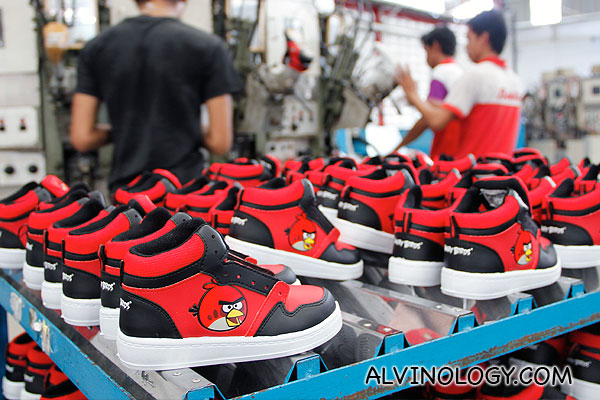 Completed Angry Birds shoes