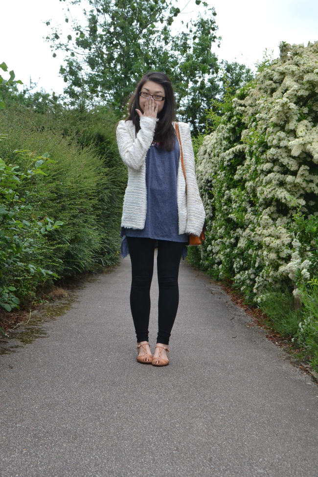 Daisybutter - UK Style and Fashion Blog: what i wore, zara jacket, boucle, statement necklace, candy jewels trend