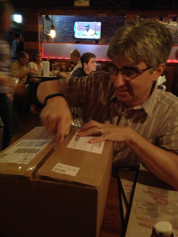 Len opening box of galleys