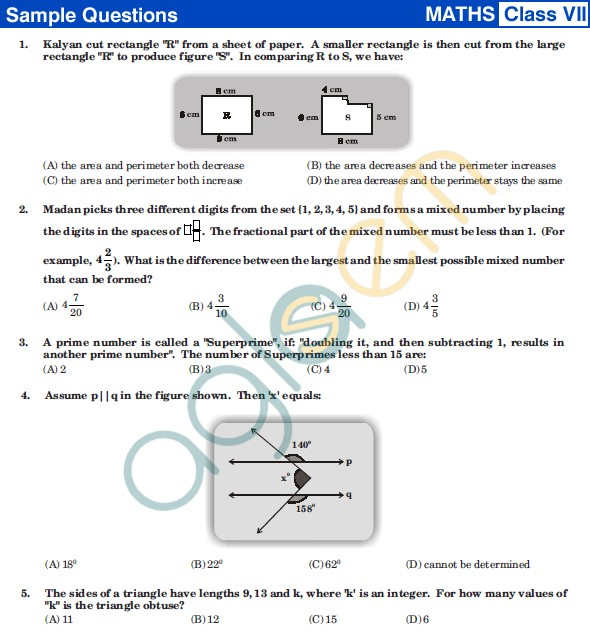 UCO 2013 Sample Papers for Class VII - Mathematics
