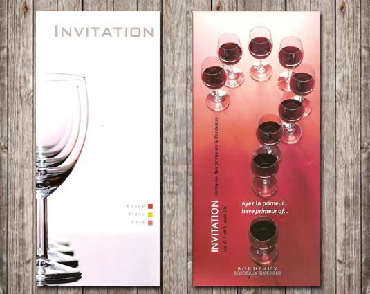 Création graphique de carton d'invitation pour une dégustation de vin.