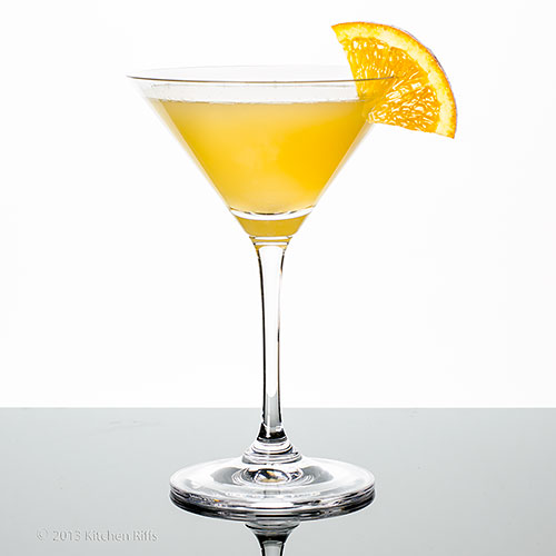 Maiden's Prayer Cocktail in cocktail glass with orange slice garnish