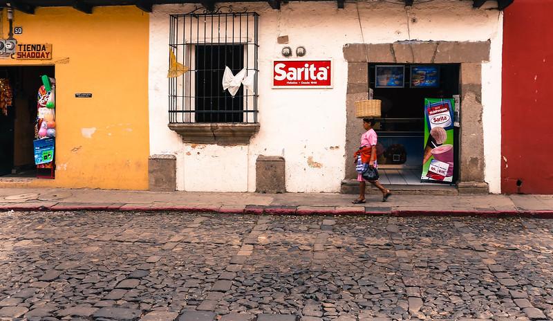 Woman with Basket on Head Antigua