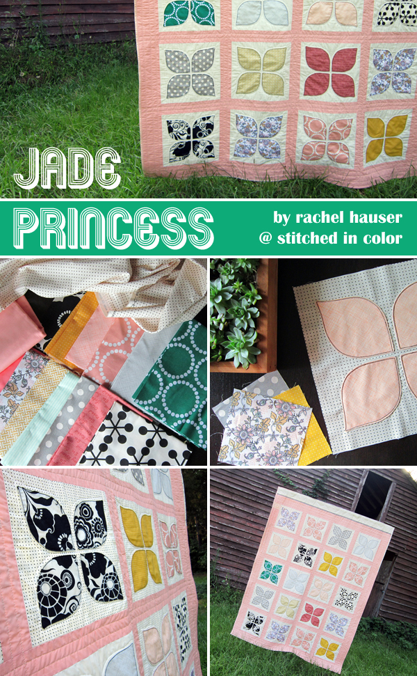 Jade Princess, dogwood blossom quilt by Rachel Hauser at Stitched In Color | Emma Lamb