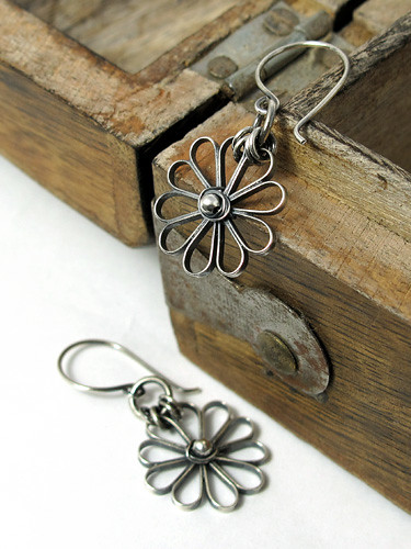 Oxidised silver flowers