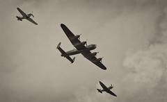 Lancaster, Spitfire and Hurricane, Battle of Britain Memorial Flight - Airbourne, Eastbourne, August 2013