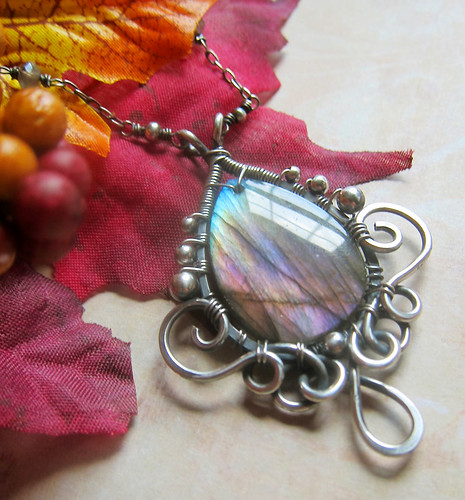 Titania In Autumntide - Purple Labradorite Necklace