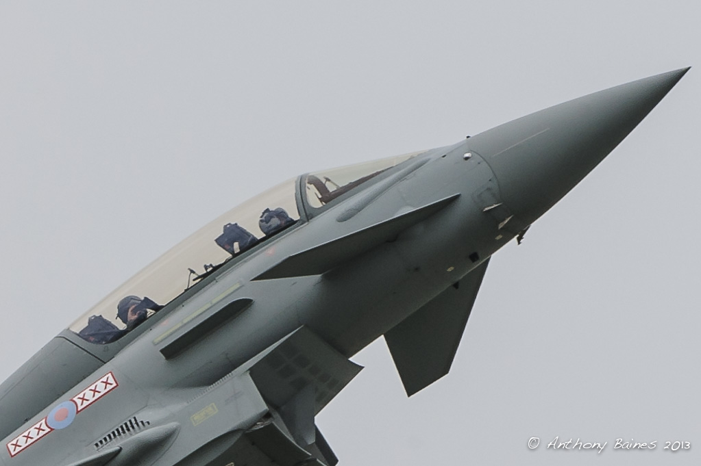Backseater in RAF Typhoon (ZK380/BG 29 Sqn); photographing the visitors down below;backseater'; photographing the photographer