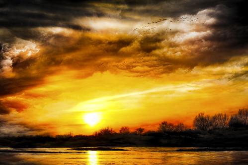 sunset sun texture water birds clouds photoshop canon river nebraska migration sunglare platteriver texturedlayers creativemindsphotography canoneosdigitalrebelxsi jackaloha2 mygearandme photoshopcs5 flickrstruereflection1 flickrstruereflection2
