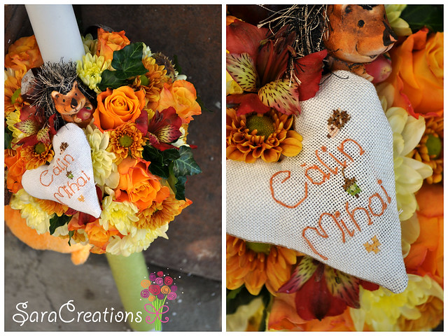 Lumanare botez cu miros de toamna / autumn christening candle