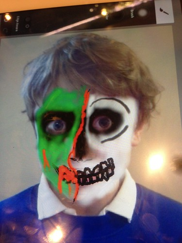 Tablet sketch of predlet 2.0 face painting before 1st ever attempt