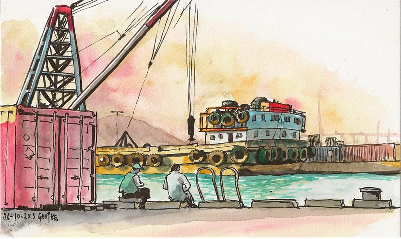 Sketching in the Evening at a Cargo Pier